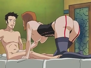 Fat ass anime girl sits pussy on his boner