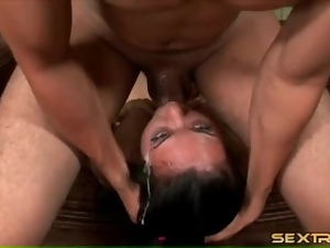 Wicked messy throat fucking of a slut