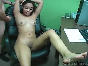 Office footjob from cute nerdy girl