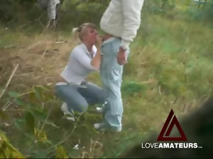 Jeans and white leather boots on girl fucking outdoors
