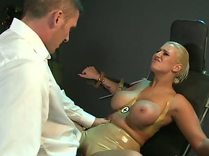 Busty slave toyed with dominant master