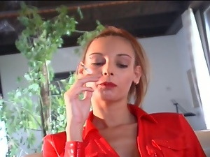 Nasty slut smoking while taking huge cock