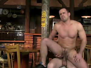 Hot bartender: downing drinks with dick fun!