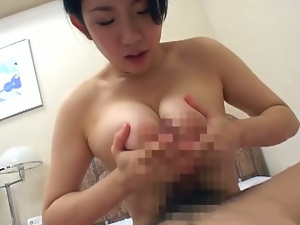 Asian brunette babe with big boobs blows cock