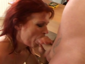 Old hungarian slut gets rammed at the office