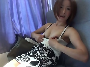 Amateur japanese babe flashes tits and hairy pussy