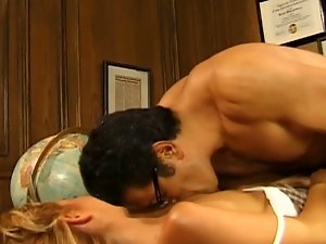 Blonde coed gets banged on the teacher's desk