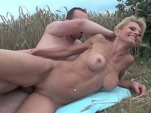 Old woman with big tits and hairy pussy gets cums
