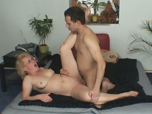 Young boys pleases horny granny