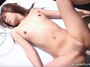 Horny japanese brunette gets a lot of cock