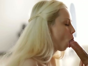 Angelic blonde russian slut sucks and gets fucked