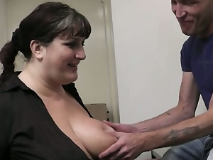 Busty bbw slut is fucked by future boss