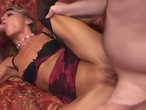 Horny milf gets her pussy creampied again & again.