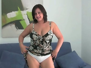 Attractive mom strips and jerks off