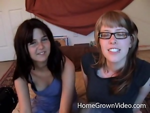 Nerdy girls in glasses lick and then toy their pussies