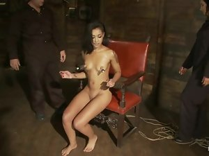 Hog tied Skin Diamond sucks a dick and gets toyed with a strap-on