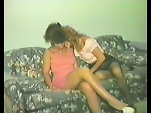 Three curly retro girls toy and lick their pussies in a bedroom