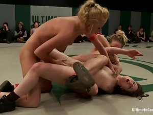 A few nude lesbians have a tussle on tatami and enjoy it much