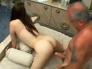 Brunette hottie gets fucked by a lewd old man on the poolside