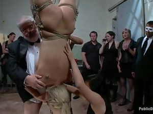 A lot of cum in blond's mouth after some public perversions