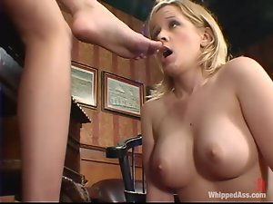 Anna Mills gets whipped and dominated in an office