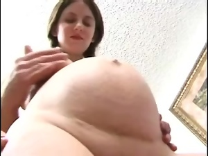 Pregnant hottie Kora jumps on a cock after sucking it with pleasure