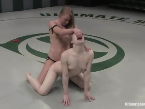 Pale-skinned bitch gets brutally fucked by her GF on tatami