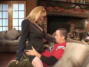 Blonde mom Lexxy Foxx jumps on a cock after sucking it devotedly