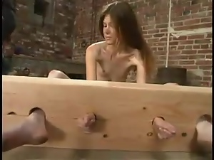 Skinny Ashley gets covered with wax and suspended