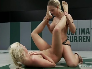 Stunning blonds are fighting and having sex