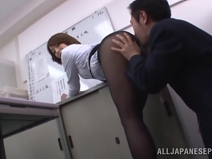 Quick petting in the office with a booty angel Tamaki