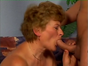 Virginia sucks a prick before taking it in her old hairy twat