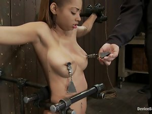 Gorgeous Angel Cummings gets dominated in bondage video
