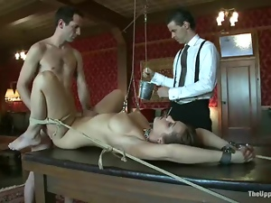 Gagged and tied up girl gets her ass toyed and fucked