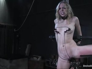 Damon Pierce plays with Sarah Jane Ceylon tits and vag in BDSM scene