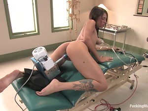 Sexy Alicia Tease uses a fucking machine in a hospital