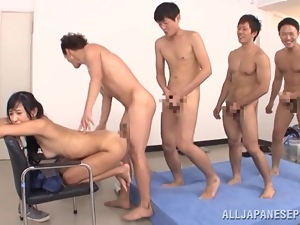 Nana Ogura feels happy to get her cunt smashed in a gangbang