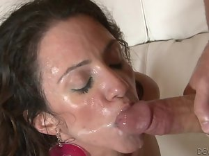 Ariella Ferrera sucks a cock before and after riding it energetically