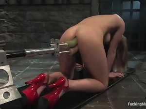 Lovely blonde girl gets her both holes toyed simultaneously