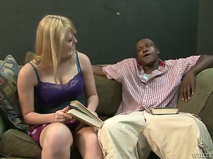 Emma Ash gets her mouth and pussy pounded hard by a black stud