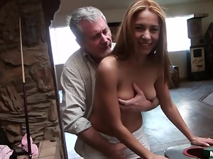 Playful slim babe gets fucked by old dude on a billiard table