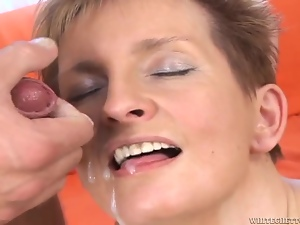 Short-haired blonde mom Sava enjoys some dirty anal sex with a plumber