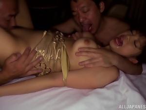Stunning Rina Itou gets fucked rough by two horny dudes