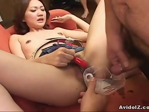 Japanese girls sucks then give handjob to completion Uncensored