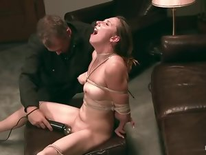 Sasha Lexing gets bound and toyed after a photo session