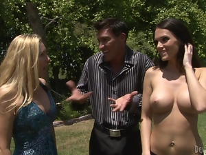 Busty brunette chick gets fucked and facialed on a lawn