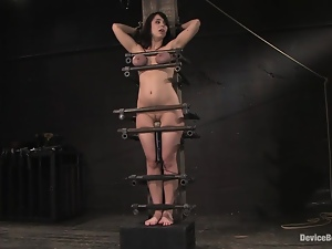 Beverly Hills gets her awesome tits decotated with leads in BDSM scene
