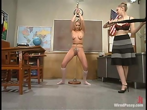 Lesbian BDSM Action with Bondage and Wicked Toying in Classroom