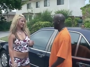 Delicious blondie is having an interracial sex