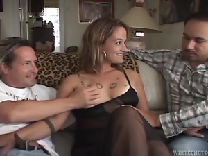 Tattooed blonde mom Heidi Sin gets fucked and facialed by two studs